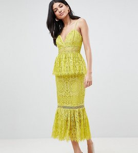 Read more about Asos design tall peplum hem lace pencil dress with delicate trim - yellow