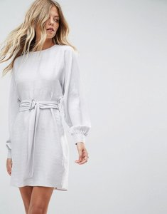 Read more about Asos jacquard belted mini dress - silver