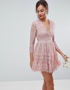 Read more about Asos long sleeve lace mini prom dress - dusty pink