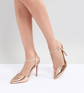 Read more about Asos design pascala pointed heels - nude nude metallic