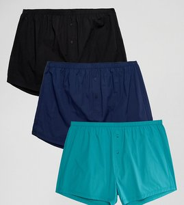Read more about Asos plus woven boxer in blue 3 pack - blue