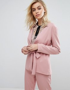 Read more about Fashion union blazer with tie front co-ord - pink