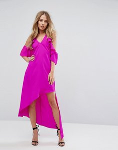 Read more about Adelyn rae oliana asymmetric cold shoulder dress - hot pink