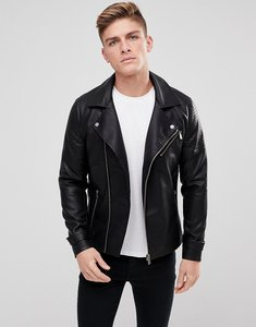 Read more about Only sons faux leather biker jacket - black