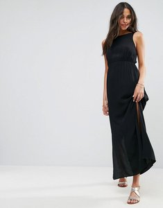Read more about Asos open back maxi with bow detail dress - black