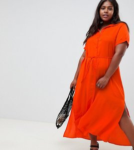 Read more about Glamorous curve shirt dress with tie waist - orange