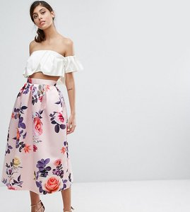 Read more about Closet london satin midi skirt in occasion print - multi