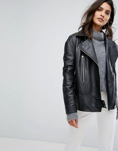 Read more about Y a s oversized leather jacket - black