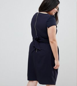 Read more about Closet london plus tie back short sleeve dress - navy