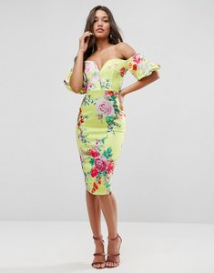 Read more about Asos premium floral bardot with puff sleeve midi dress - multi