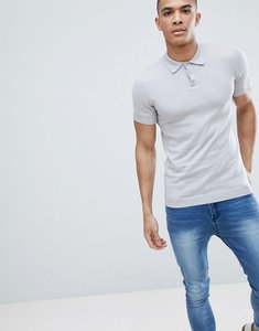 Read more about Asos design knitted muscle fit polo in pale grey - pale grey