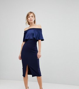 Read more about Silver bloom satin contrast bardot midi dress - navy