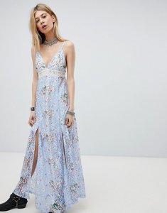 Read more about Kiss the sky lace maxi dress with front split and cut out back - purple
