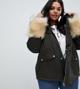 Read more about Asos curve parka with faux fur collar and cuff - khaki