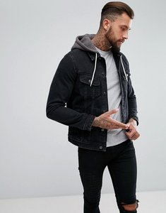 Read more about Asos design denim jacket with jersey hood in black - black