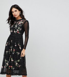 Read more about Frock and frill floral premium embroidered metallic tulle skater dress - black multi