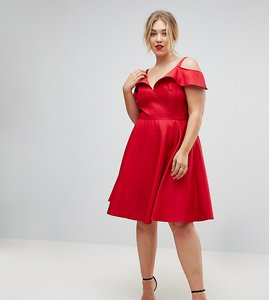 Read more about Chi chi london plus midi skater dress with cold shoulders - red