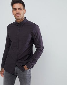 Read more about Asos design casual slim oxford shirt in black - black