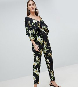 Read more about Asos design tall jumpsuit with kimono sleeve and peg leg in lily print - black multi