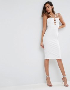 Read more about Asos gold metal insert midi bodycon dress - white