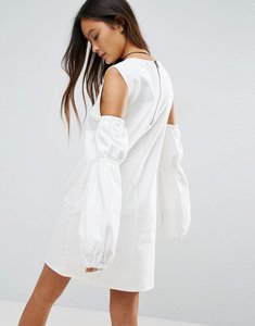 Read more about Asos denim shift dress in white with puff sleeve and cold shoulder - white