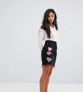Read more about Glamorous petite badge denim mini skirt - black