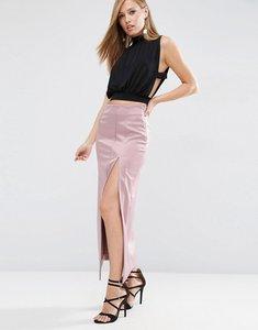 Read more about Asos premium bonded satin maxi skirt - mink
