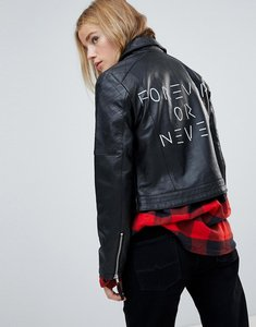 Read more about Asos ultimate leather biker jacket with diamond quilting and back print - black