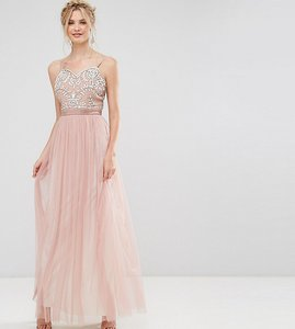 Read more about Maya tall embellished cami strap bow back embellished maxi dress - mauve