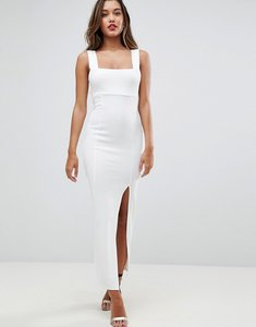 Read more about Asos square neck scuba maxi dress with thigh split - ivory