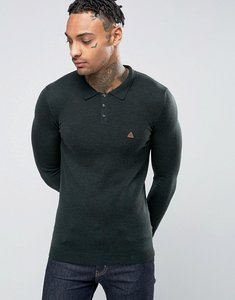 Read more about Asos muscle fit knitted polo with logo in merino wool - forest green