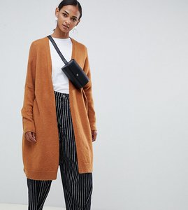 Read more about Asos design tall eco oversize cardigan in fluffy yarn - camel