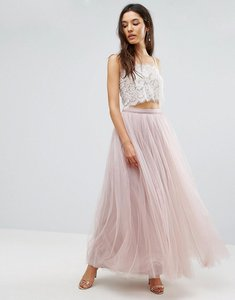 Read more about Little mistress maxi tulle prom skirt - mink