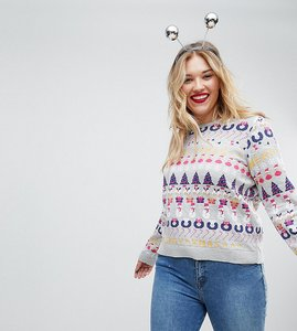 Read more about Asos foundation curve all things christmas jumper in metallic yarn - multi