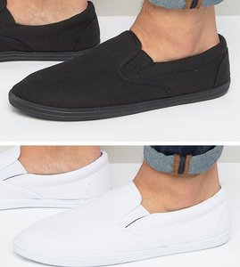 Read more about Asos slip on plimsolls in black and white 2 pack save - black white