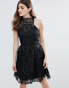 Read more about Little mistress lace halter neck mini dress - black