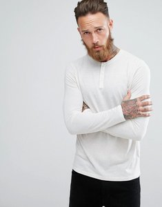 Read more about Asos long sleeve t-shirt with grandad neck in linen mix fabric - ecru
