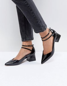 Read more about Asos sincere pointed block mid heels - black patent