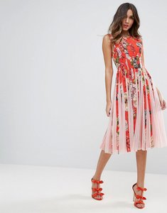 Read more about Asos floral mesh insert fit and flare midi dress - multi