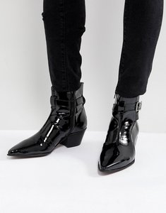Read more about Asos chelsea boots in black patent leather with cuban heel - black