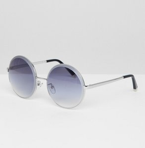 Read more about Jeepers peepers oversized round sunglasses with ombre coloured lens - silver round