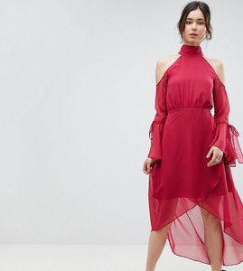 Read more about True decadence tall premium cold shoulder wrap front midi dress with fluted sleeve detail - raspberr