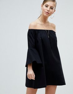 Read more about Asos off shoulder mini dress with trumpet sleeve - black