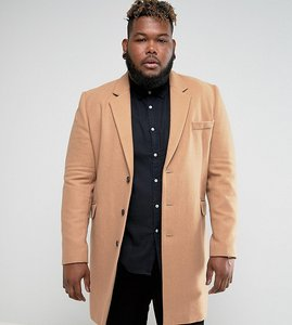 Read more about Asos plus wool mix overcoat in camel - camel