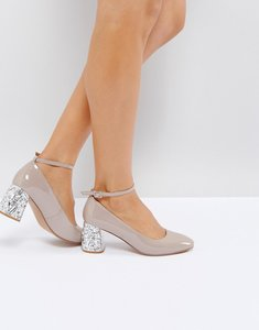 Read more about Asos snowflake jewelled mid heels - nude patent