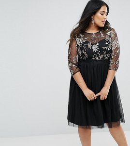 Read more about Little mistress plus skater dress with embroidered bodice - black