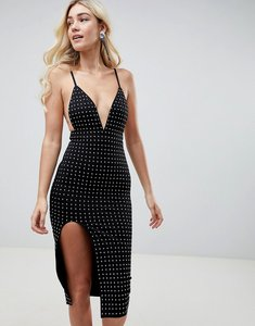 Read more about Club l deep v midi dress with side split all over diamante embellishment - black