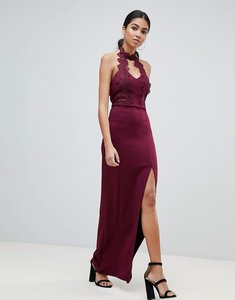 Read more about Ax paris maxi dress with lace detail side split - plum