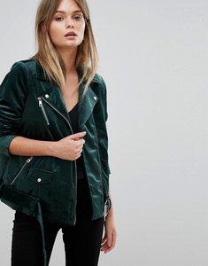 Read more about Vero moda velvet biker jacket - green