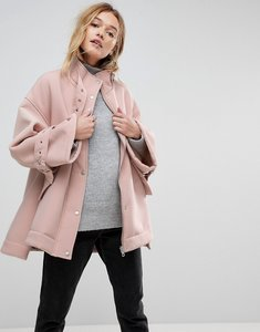 Read more about Asos bonded jacket with borg lining and metalwear - pink